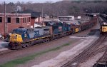 CSX  AC44W #133 and SD70MAC lead an Atlanta bound train past the yard office